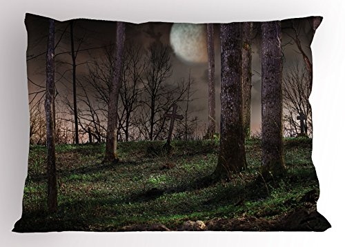 Lunarable Gothic Pillow Sham, Dark Night in The Forest with Full Moon Horror Theme Grunge Style Halloween, Decorative Standard Size Printed Pillowcase, 26 X 20 inches, Brown Green Yellow for $<!--$14.99-->