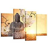 Kreative Arts Large 4 Panel Buddha in Meditation Split Canvas Wall Art Pictures Modern Inspirational Prints Big Peaceful Relaxing Artwork Ready to Hang for Home Decorations L47xH32