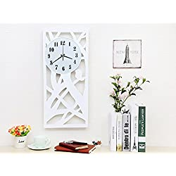 Lomoclock Wall Clocks Without Ticking Silent for Living Room Office Bedroom Bathroom Kitchen Children's Room Simple Drop AA Battery 16inch Large Numerals Cute Modern Pure Rectangle Clocks (White)