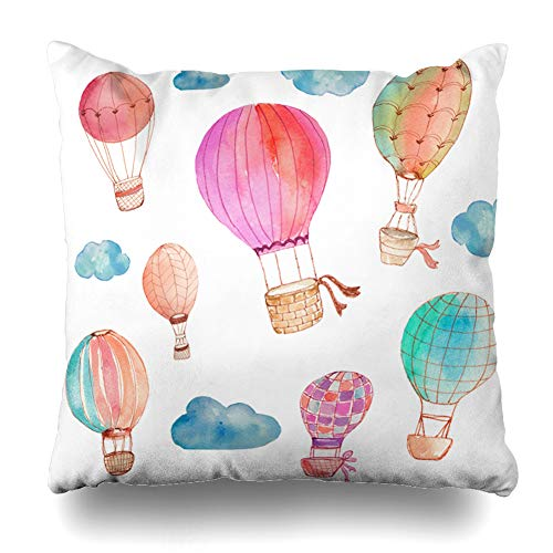 Ahawoso Throw Pillow Covers Cases Striped Pink Nursery Watercolor Hot Air Balloons Watercolour Cute Girly Flying Bright Cloud Home Decor Cushion Square Size 20