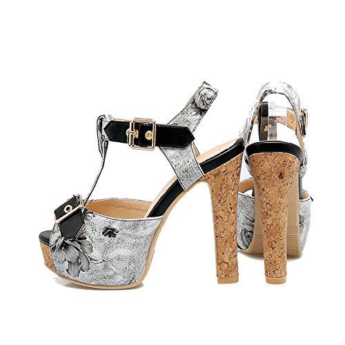 Sky-Pegasus 2018 Fashion Party Sandal High Heels Sandal Buckle Printing Platform Sandal Size 32 33-43 46,Black,10