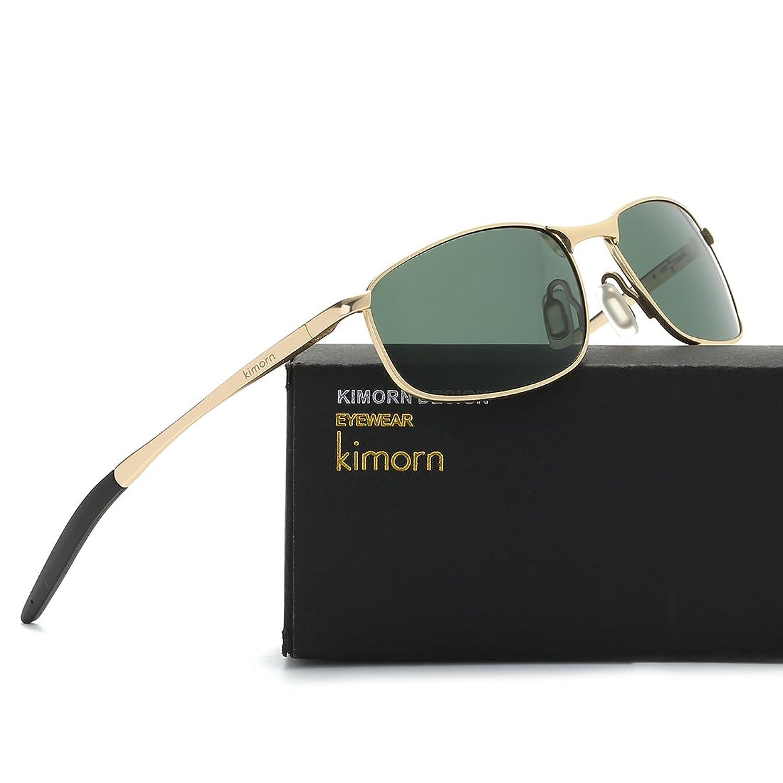 Kimorn Polarisierte Sonnenbrille Herren Retro Rechteckig Rahmen Klassisch Unisex Gläser K0535 (Schwarz) eEdgmn