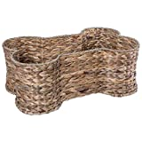 Bone Dry DII Medium Hyacinth Bone Shape Storage Basket, 21x13x8, Pet Organizer Bin for Home Décor, Pet Toy, Blankets, Leashes and Food
