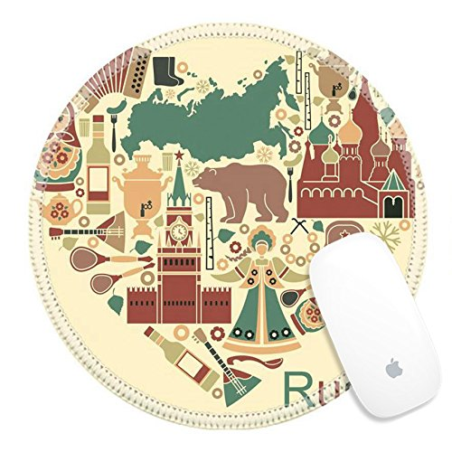Luxlady Round Gaming Mousepad 34562578 Symbols of Russia in the form of heart