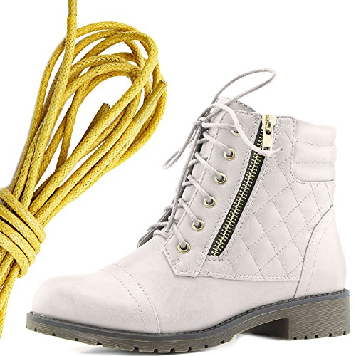 DailyShoes Womens Military Lace Up Buckle Combat Boots Ankle High Exclusive Credit Card Pocket, Yellow Ivory White Pu