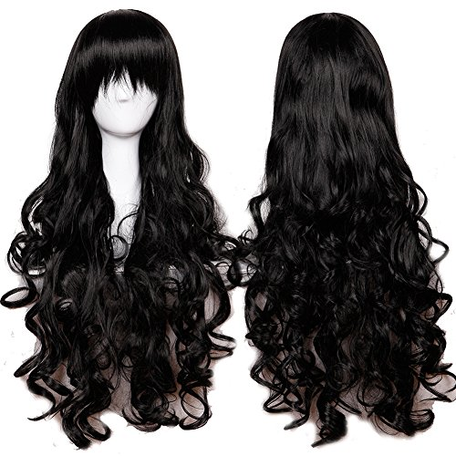 [Anime Cosplay Full Wig with Bangs 24-40inch 13 Colors Japanese Kanekalon Fiber Heat Resistant Synthetic Wig Long Curly Wavy Vogue 32'' / 80cm for Women Girls Lady Fashion] (Glamour Costumes 2016)