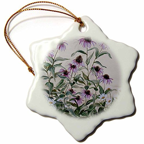 rfy9u7 3-Inch Porcelain Snowflake Decorative Hanging Ornament, Coneflower Patch and Daisey Patch Against Stone Wall