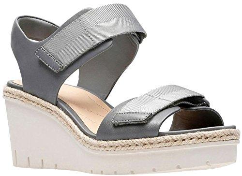 CLARKS Women's Palm Shine Grey Leather 7.5 B US by CLARKS