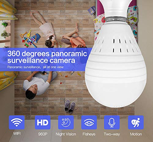 ETbotu Bulb Lamp Wireless IP Camera WiFi 960P Panoramic FishEye Home Security CCTV Camera 360 Degree Night Vision Camera 1.3 Million Single Light Source White Light ()