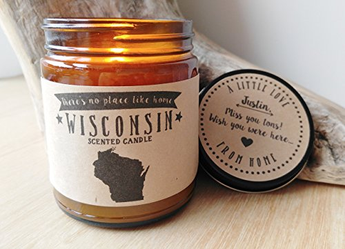 Wisconsin Scented Candle Missing Home Homesick Gift Moving Gift New Home Gift No Place Like Home State Candle Missing You Valentines Day Gift