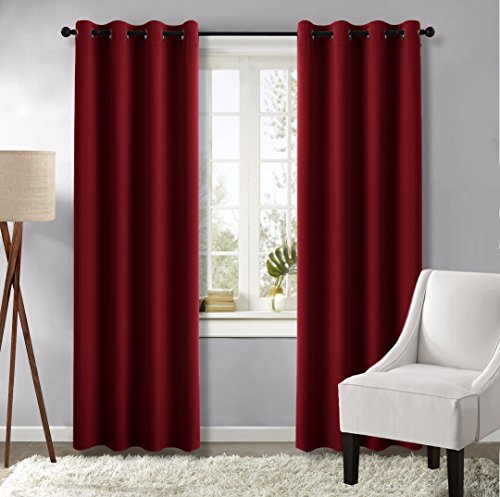 Burgundy Blackout Draperies Curtain Panels - (Burgundy Red Color) 52 by 95-Inch, 1 Pair, Thermal Insulated Solid Grommet Blackout Drapes for Living Room by NICETOWN