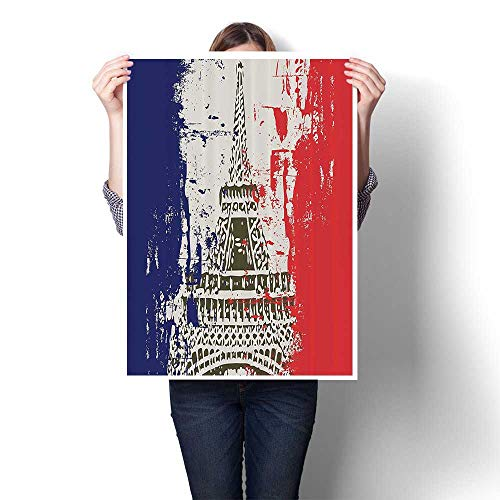 (Wall Paintings Style French Flag with Eiffel Tower City of Love in Retro Colors Europe Modern Wall Art for Living Room Decoration,16