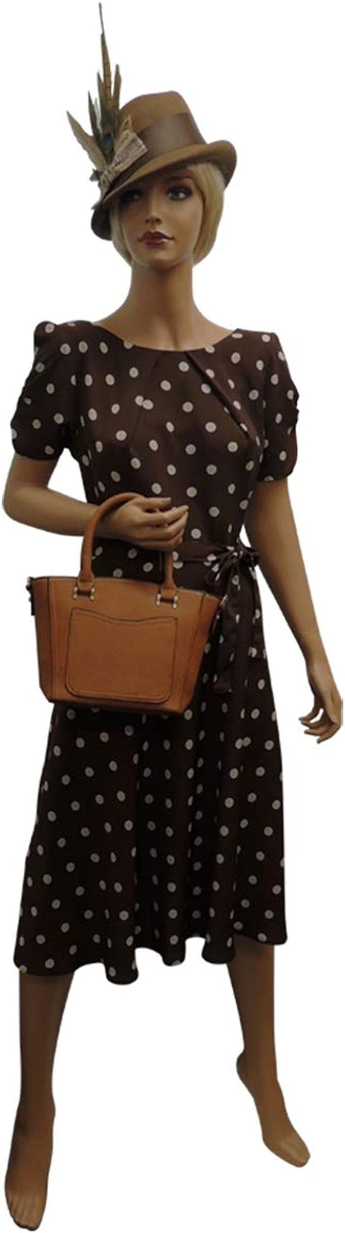 1940s Dress Styles New Ladies Brown Polka Dot WWII 1930s 40s Vintage Style Wartime Tea Dress £32.99 AT vintagedancer.com