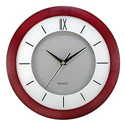 Timekeeper Products Round Silver Dial Wall Clock in Cherry Wood Frame with White Screening, 11-Inch