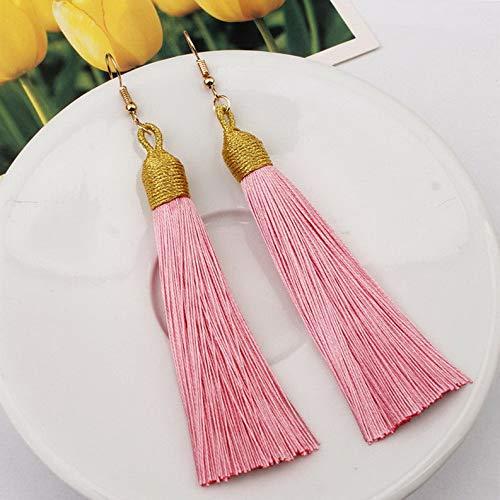 Wausa Elegant Bohemian Women Long Tassel Fringe Drop Dangle Earrings Ear Stud Jewelry | Model ERRNGS - 6853 |