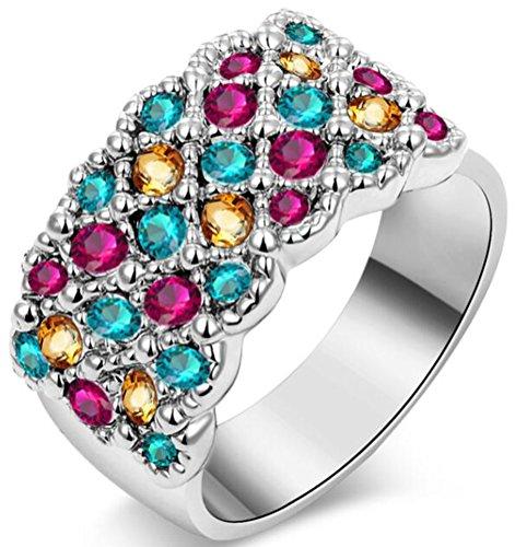 (TEMEGO 14k White Gold Multi-Colored Gemstone Half Eternity Wedding Band Cocktail Statement Ring,Size)