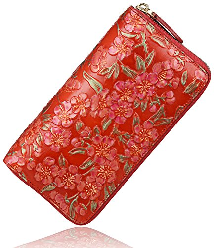 pijushi-womens-designer-floral-genuine-leather-wallet-purse-1013-one-size-red
