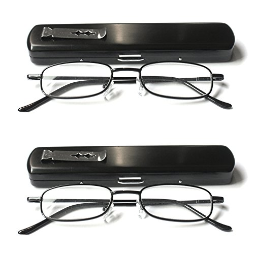 EYE-ZOOM 2 Pack Slim Metal Reading Glasses with Spring Hinge Lightweight Pocket Aluminum Case, Black Reader for Comfort Fit Men and Women, +1.00 - For Faces Reading Narrow Glasses