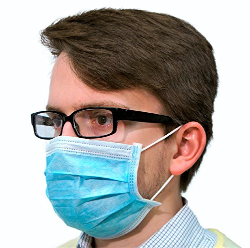 Disposable Earloop Surgical Mask - 50 Piece - Blue 3-Ply Medical Dental Procedural Face Mask - Universal Fit, Hypoallergenic & Latex Free Dust Mask - Free Dust