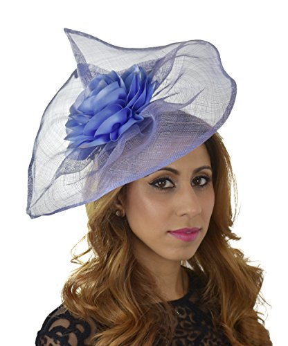 Hats By Cressida Sinamay & Satin Flower Elegant Ladies Ascot Wedding Fascinator Hat Dusky Blue by Hats By Cressida