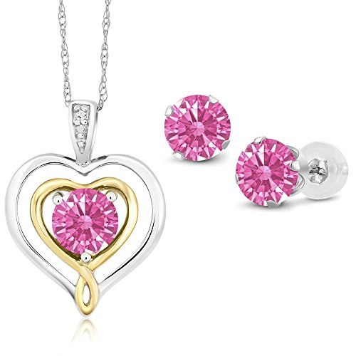 10K White Gold Pendant Earrings Set 5mm Set with Pink Zirconia from Swarovski by Gem Stone King