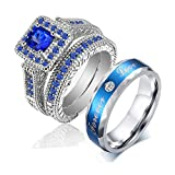 LOVERSRING Couple Ring Bridal Set His Hers White Gold Plated Blue CZ Stainless Steel Wedding Ring Band