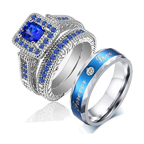 LOVERSRING Couple Ring Bridal Set His Hers White Gold Plated Blue CZ Stainless Steel Wedding Ring Band by LOVERSRING