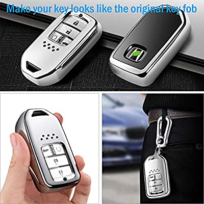 COMPONALL for Honda Key Fob Cover, Key Fob Case for Honda Accord Civic CRV Pilot Odyssey,etc Smart Premium Soft TPU Full Cover Protection Smart Remote Keyless Key Fob Shell Silver: Automotive