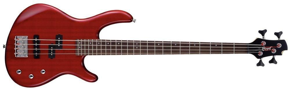 Cort Action - bajo eléctrico (calibre de cuerdas: 45-105), color rojo y transparente: Amazon.es: Instrumentos musicales