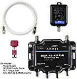 Arris 4-Port Bi-Directional Cable TV, OTA, Satellite HDTV Amplifier Splitter Signal Booster with Passive Return And Coax Cable Package - cableTVamps®