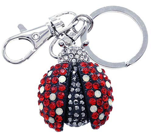 Soulbreezecollection Ladybug Keychain Key Ring Charm Insect Animal Lover Accessories Red Black Rhinestones