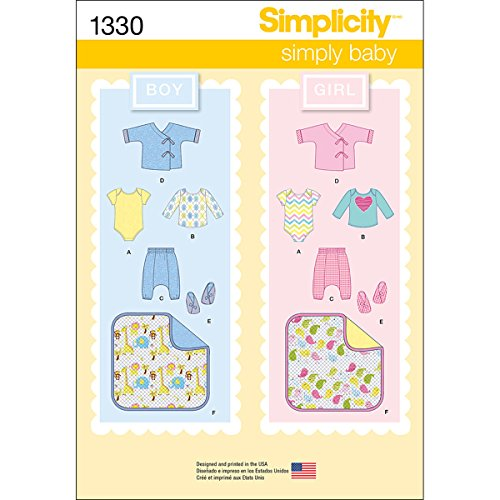 Simplicity 1330 Pants, Booties Blanket, Knit Top, and Body Suit Baby Clothes Sewing Pattern, For Ages 1-18 Months and Sizes 7-24 Pounds