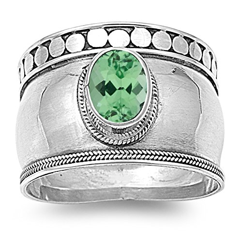 Oval Green Natural Emerald - 925 Sterling Silver Oval Faceted Natural Genuine Green Emerald Bali Ring Size 10