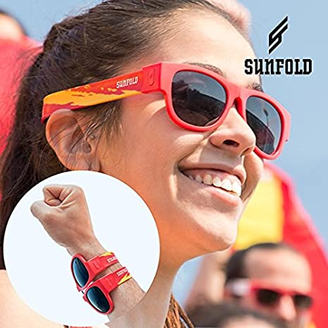 Gafas de Sol Enrollables Sunfold Mundial Spain Red: Amazon ...