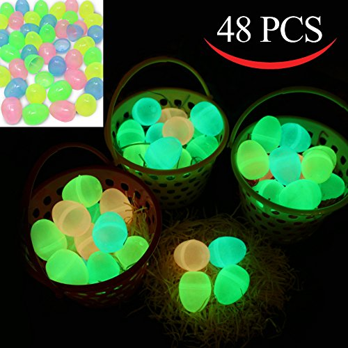 "Price comparison product image 48 Pieces Glow in the Dark 2 3/8"" Easter Eggs for Filling Specific Treats, Easter Glow Theme Party Favor, Easter Eggs Hunt, Basket Stuffers Filler, Classroom Prize, Party Favor Supplies by Joy"