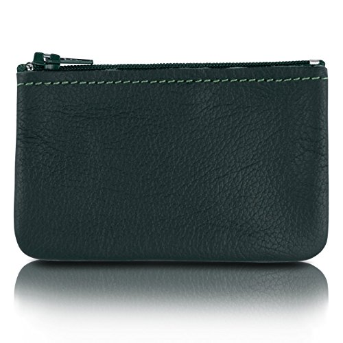 Zippered Coin Pouch, Change holder For Men/Woman made with Genuine Leather, Coin Purse, Pouch Size 4x2.5 inches, Made IN USA ()