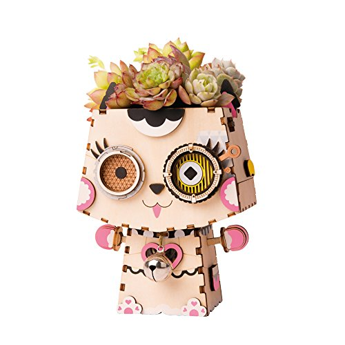 ROBOTIME Cute Plastic Succulent Plant Pots Set with Hole and Tray DIY Wooden Animal Shape Puzzle with Small Bell for Room Decor (Kitty)