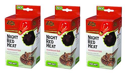 Zilla Incandescent Bulb, Night Red Heat, 150 Watt (3 (150w Red Heat Bulb)