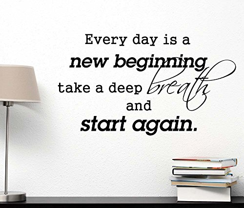 Ideogram Designs Every Day is a New Beginning take a deep Breath and Start Again. Vinyl Wall Art Inspirational Lettering Motivational Saying Sticker Quote Wall Decor (Take A Deep Breath And Start Again)