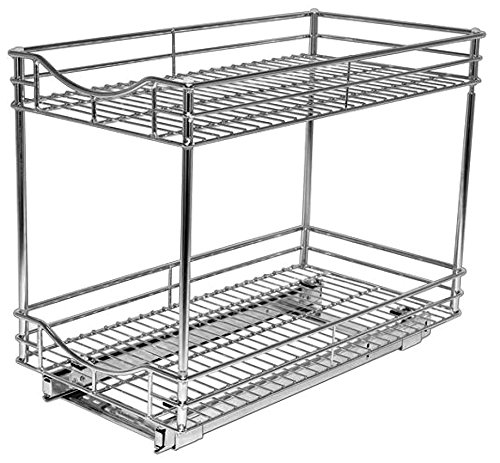 Lynk Professional Slide Out Double Shelf - Pull Out Two Tier Sliding Under Cabinet Organizer - 11 inch wide x 21 inch deep - Chrome - Multiple - smallkitchenideas.us