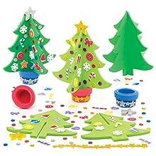 Baker Ross AR802 Kits de Árboles de Navidad, Manualidades Decorativas Navideñas para Niños, Paquete de 4