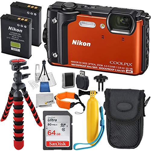 Nikon COOLPIX W300 Digital Camera with Deluxe Accessory Bundle – Includes Promotional Sandisk 64GB Ultra Memory Card – Extended Life Replacement Battery EN-EL12 & Much More (Orange)