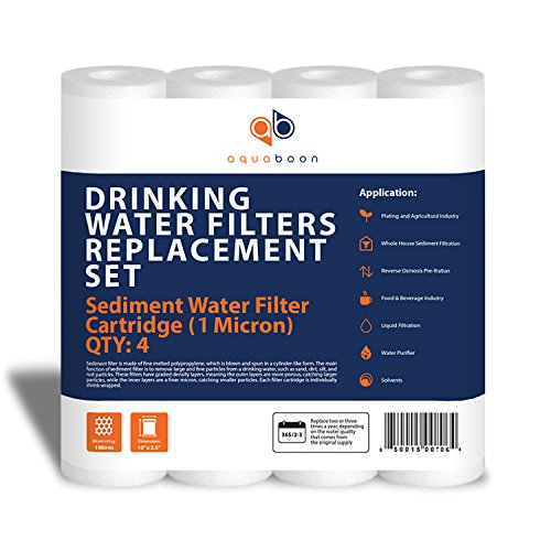 Aquaboon 1-Micron Sediment Water Filter Cartridge, 4-Pack ()