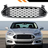 For 2013-2016 Ford Fusion Glossy Black Chrome Trim Honeycomb Mesh Front Grille