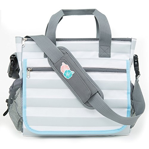 Bula Baby - Stylish Grey Stripe Diaper Tote Organizer Bag - With 11 Pockets to Keep Everything - Collection First Versace
