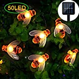 Solar String Lights, 50 LED Honeybee Garden Fairy Lights,8 Mode 7M/ 24Ft Waterproof Outdoor/Indoor Solar Powered Decorative Lighting for Home, Patio, Party, Christmas,Festival Decoration (Warm White)