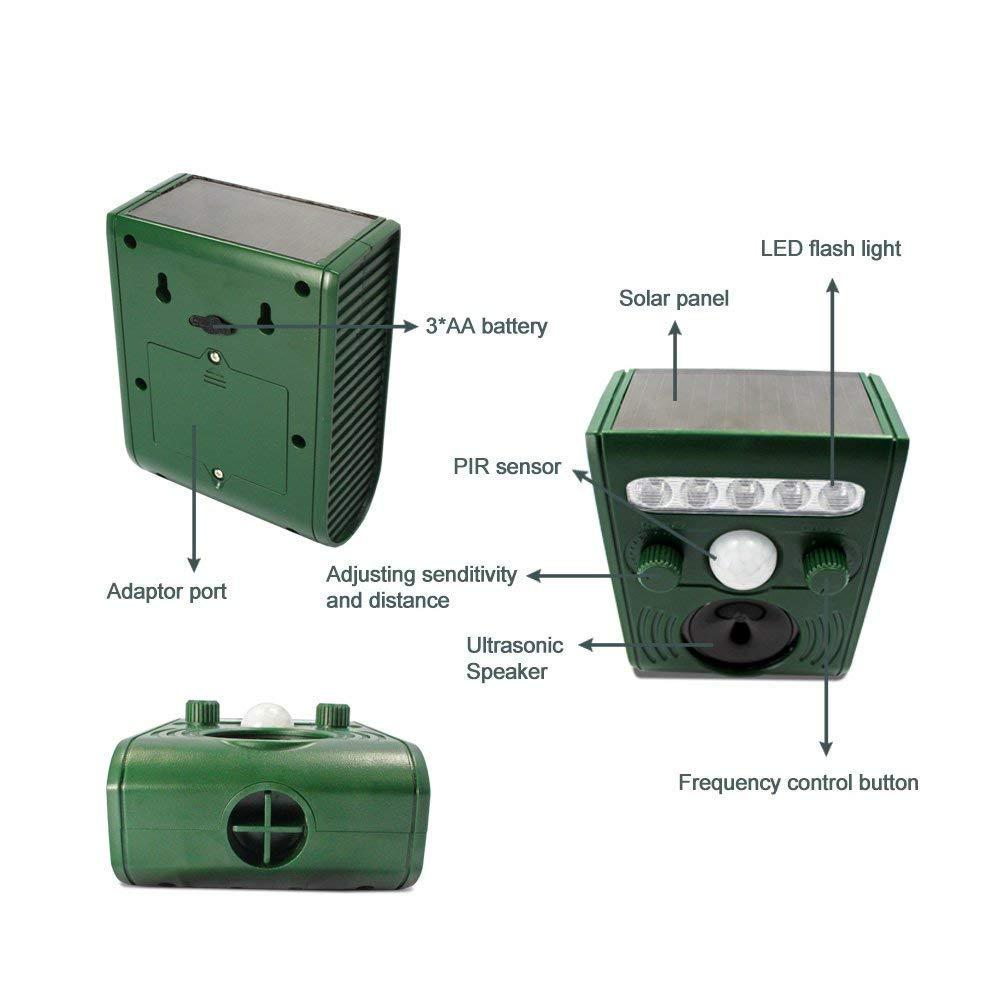 Exterior energía solar ultrasónico animal mascota repelente gato perro ratón pájaro roedor disuasorio con luz intermitente LED - 30 ft 9 m gama baterías ...