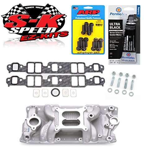 Edelbrock 7501 SBC Performer RPM Air Gap Intake Manifold w/Bolts/Gaskets/RTV