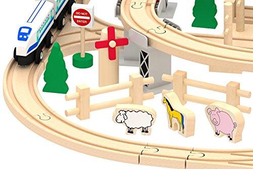 Super Fun Deluxe Wooden Railway City Train Set (130+ pcs)