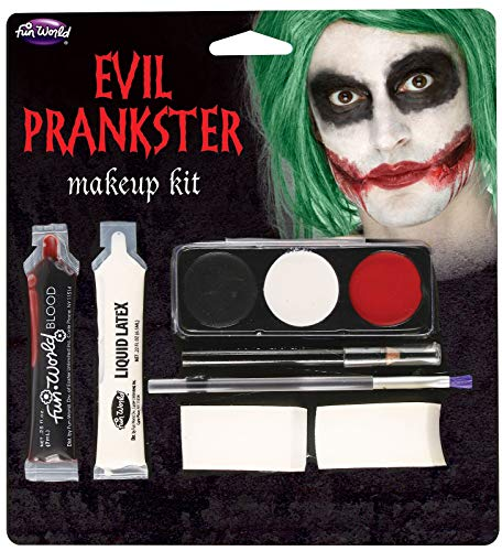 Fun World Unisex-Adult's Halloween Evil Prankster/Joker Make Up Kit, Multi, -